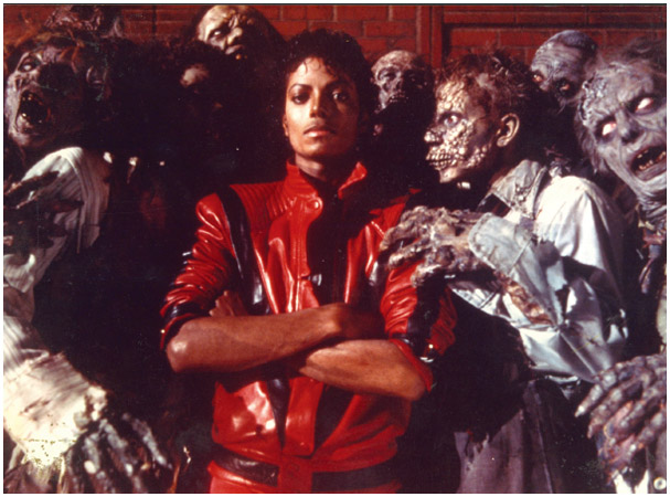 Michael Jackson in the Thriller video, one of many expensive, elaborate musical minimovies from the album of the same name.