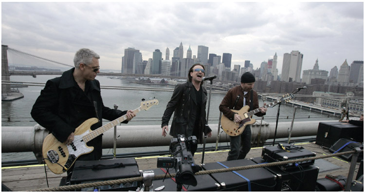 U2 filmed a music video at various locations throughout New York City in 2004.