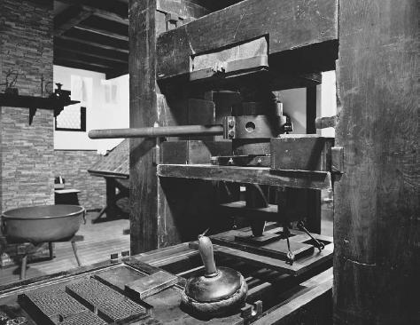 Gutenberg printing press. Johannes Gutenberg (c. 13951468) invented the printing press sometime in the mid-fifteenth century. The moveable printing blocks it employed made it far simpler to operate than the complicated machinery of the Far East
