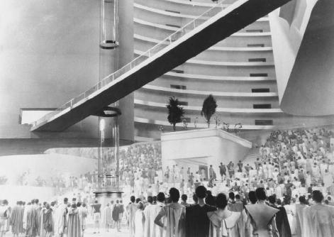 Film still from Things to Come (1936), directed by William Cameron Menzies. Based on H. G. Wellss novel The Shape of Things to Come, the Ultimate Revolution (1933), this film adaptation was one of the first to depict a dystopian society. THE KO