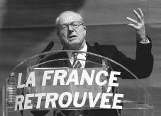 French presidential candidate Jean-Marie Le Pen with slogan reading France found again, 2002. Right-wing political parties such as Le Pens National Front (best known for its anti-immigration platform) have often tried to place what they see as