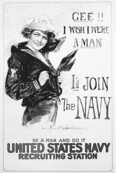 U.S. Navy recruitment poster by Howard Chandler Christy, 1918. In the United States the Committee on Public Information was formed in 1917 as the official disseminating agency of propaganda. The committee sought to present the facts surrounding