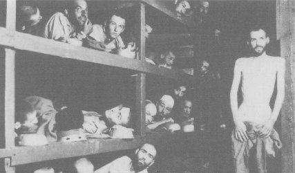 Elie Wiesel (second row from bottom, seventh person from left) and other survivors of Buchenwald concentration camp.