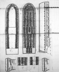 Diagram of a British slave ship, showing the layout for stowing 292 slaves lying down in the lower deck