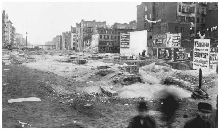 1895 photograph capturing a desolate view of the New York Bowery, the setting of Maggie: A Girl of the Streets