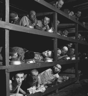 Concentration camp prisoners were not given real beds, but instead slept on wooden shelves stacked one on top of the other.