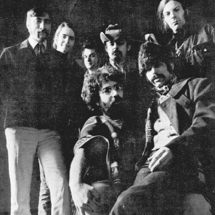 The Grateful Dead, pictured here in 1969. Famed guitarist Jerry Garcia, who died in 1995, is pictured at the bottom center. AP/Wide World Photos. Reproduced by permission.