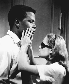 Sidney Poitier with Elizabeth Hartman in the earnest A Patch of Blue (Guy Green, 1965). EVERETT COLLECTION. REPRODUCED BY PERMISSION.