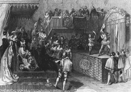 Engraving of William Shakespeare performing on stage before Queen Elizabeth I