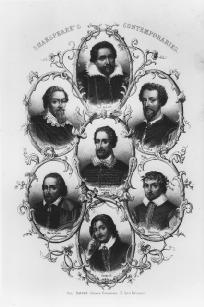 Shakespeares Contemporaries (clockwise from top): Ben Jonson, John Fletcher, Michael Drayton, James Shirley, Philip Massigner, Francis Beaumont, and Spenser (center)