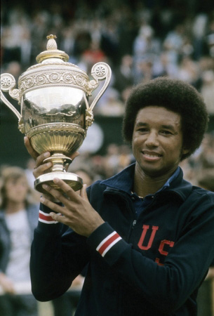 Arthur Ashe was the first African American player to win a Grand Slam tennis event, claiming victory in the U.S. Open (1968), as well as the Australian Open (1970) and Wimbledon (1975, seen here). He also fought racism and advocated for AIDS