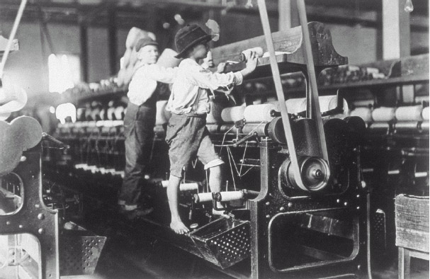 Young children worked long hours in factories, running machines sometimes three times their size.