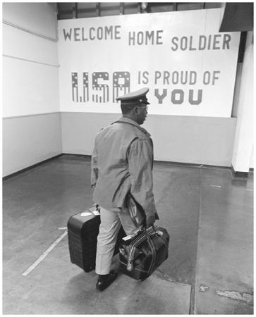 Vietnam veteran passing through the arrival gate at Oakland Army Base. Reproduced by permission of APWorld Wide