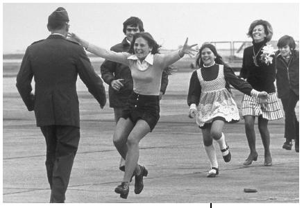 POW Robert L. Stirm, greeting his family at Travis Air Force Base, after returning from the Vietnam War, 1973. Reproduced by permission of APWorld Wide Photos.