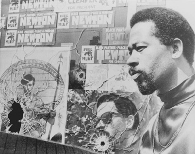 Elridge Cleaver, the Black Panther Partys (BPP) minister of information, outside of BPP headquarters in Oakland in September 1968 after two of the citys police officers fired shots into the building.