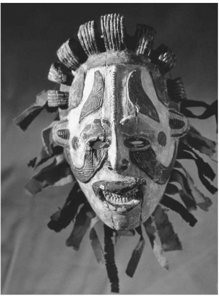An Igbo Maiden Spirit mask, which men would wear to mimic activities of women for magical purposes. The masks would be worn during certain rituals, especially at funerals and festivities.