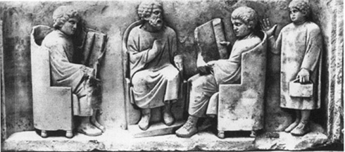 Teacher and students, from a late second century