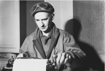 Ernie Pyle working on a column. (Reproduced by permission of Archive Photos, Inc.)