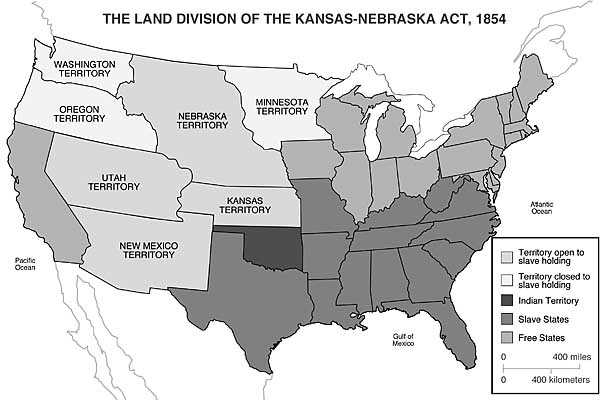 Map Of The Land Division Of The KansasNebraska Act US - Nebraska on a us map