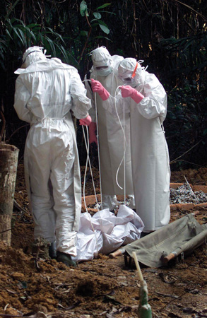 Workers dealing with Ebola outbreak