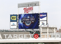 The Scoreboard At Target Field Advertises Opening Day In Minneapolis