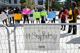 Demonstrators Protest Betsy DeVos's Proposed Plan to Roll-Back Obama Era Title IX Guidelines on ...