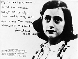 Anne Frank next to an excerpt of her diary