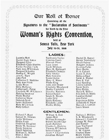 declaration of sentiments   u s  history in contextcard listing the signatories to the declaration of sentiments promulgated at