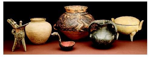 Utensils Earthenware food vessels from ancient China. From left to right: late Anyang period  jue,...