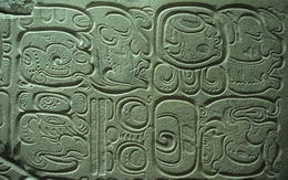 Mayan hieroglyphics, Palenque, Mexico, c. 750 CE. The writing system of the ancient Mayans combined...