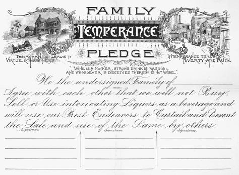 Family Temperance Pledge - U.S. History In Context