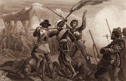 The Pequot War, fought in 1637, resulted from conflicts between European and Native American powers.