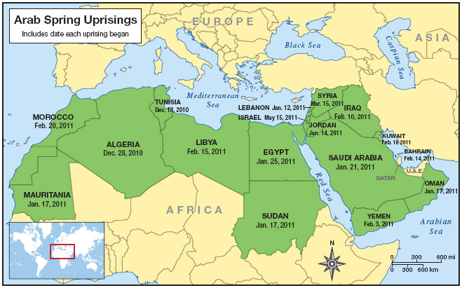 A map showing the locations of the Arab Spring uprisings with the – Map of the Arab Spring