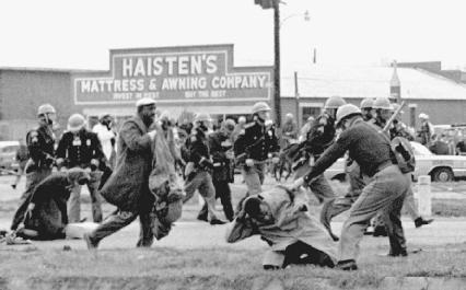 Protests against local authorities in Alabama escalated, leading to three deaths and hundreds of beating victims.