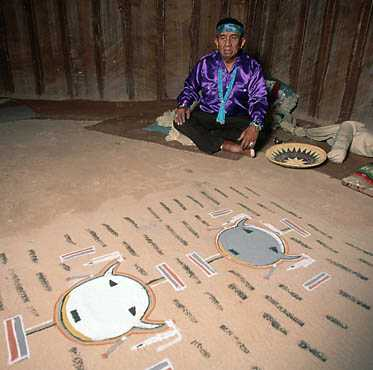 A medicine man uses a sandpainting to try to heal a patient's illness.