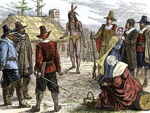 Samoset (center) worked for peace between the Pilgrims and Native Americans in the 17th century.