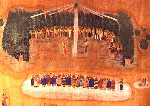 This painting depicts a traditional Sun Dance.