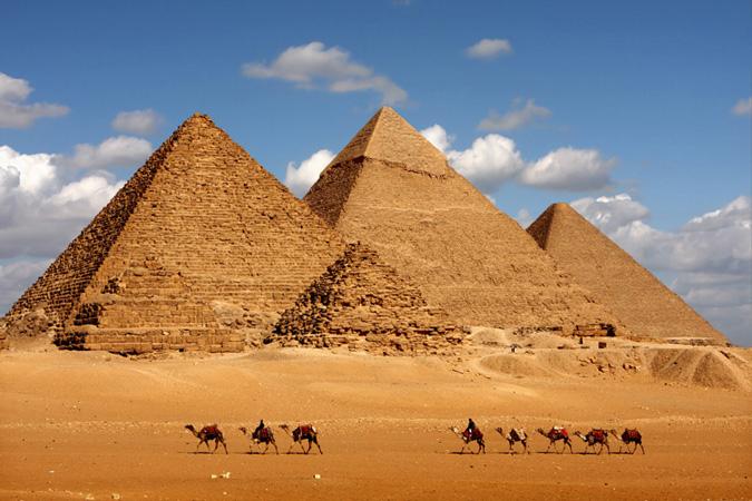 The famous Egyptian pyramids at Giza.