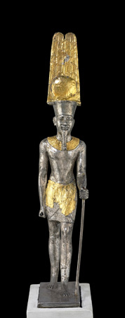 A statue of the Egyptian god Amun-Ra.