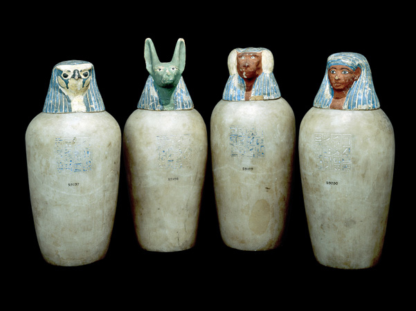 Canopic jars. During the process of mummification, the body's organs were placed in these jars, which were then stored in the person's tomb.