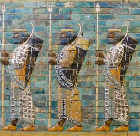 A relief sculpture showing Assyrian warriors.