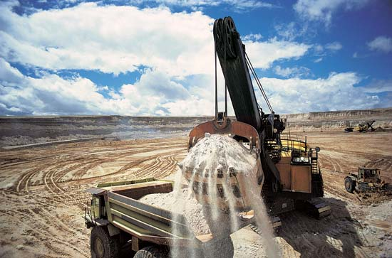 Rocky material that contains uranium is loaded into a dump truck at a mine in the U.S. state of Wyoming.