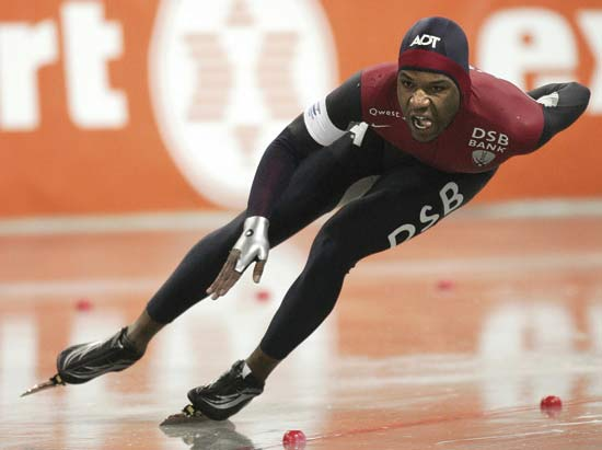 Speed skating is a type of ice skating. Speed skaters wear smooth, close-fitting clothing to cut air resistance at high speed.