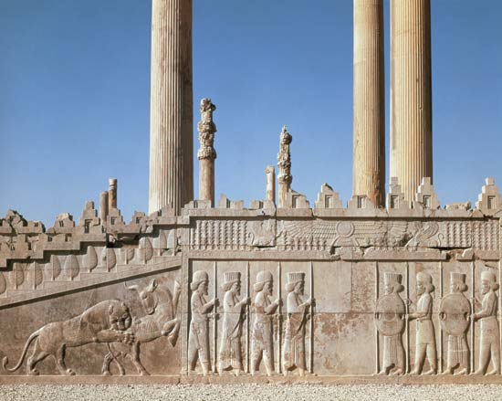 Persian kings built a hall called the Apadana in the city of Persepolis about 2,500 years ago. A stairway still stands. Carvings on it show a lion attacking a bull.