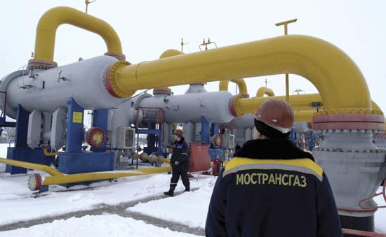 A pumping station in Russia moves natural gas through a pipeline.