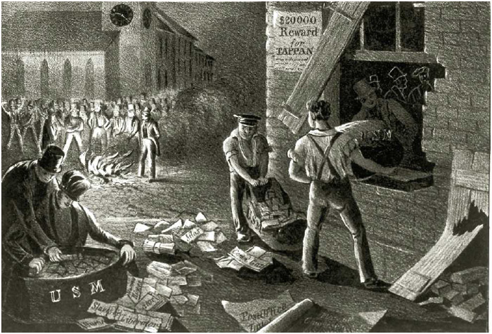 Proslavery residents of Charleston, South Carolina, broke into apost office on July 29, 1835, andpublicly burned antislavery newspapers and pamphlets in the town square.