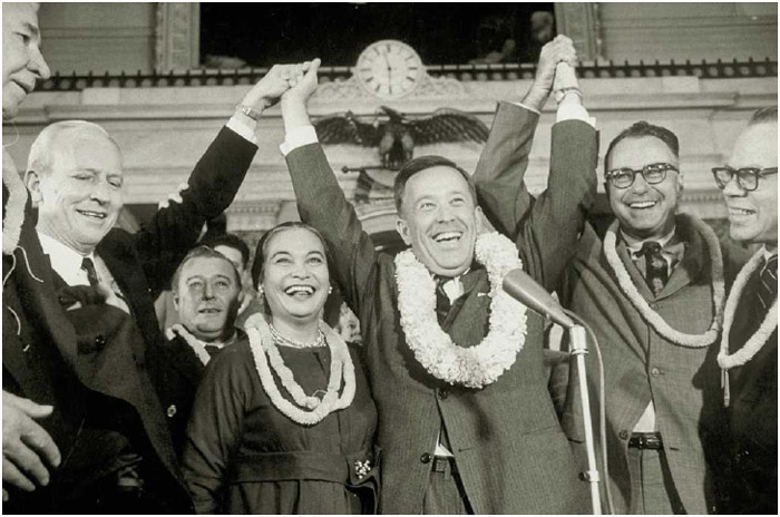 Senator Henry Jackson of Washington State (3rd from right), Hawaii territorial governor William F. Quinn (2nd from right), and others celebrate Hawaiian statehood, March 1, 1959.
