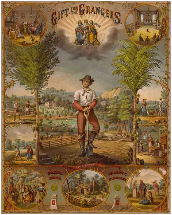 """An illustration depicting farm life in the United States titled """"Gift for the Grangers,"""" a coalition of American farmers, late nineteenth century."""