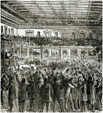 The House of Representatives celebrating the passage of the Thirteenth Amendment to the Constitution, which abolished slavery, January 31, 1865.