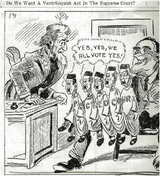 "Political cartoon, published in 1937, mocking President Franklin D. Roosevelt's attempt to expand the Supreme Court so as to ""pack"" it with justices sympathetic to his policies."